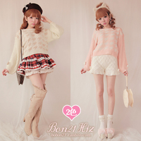 Princess sweet lolita sweater White powder orange Bow Hair Flower Lantern Sleeve Houndstooth sweater T1098