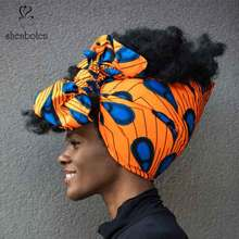 Shenbolen African Headwrap Women Traditional Headtie Scarf Turban 100% Cotton Wax 72x22