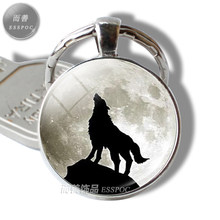 Wolf & Moon Pendant, Vintage Wolf Keychain Men Jewelry Glass Cabochon Key Chain Holder(China)