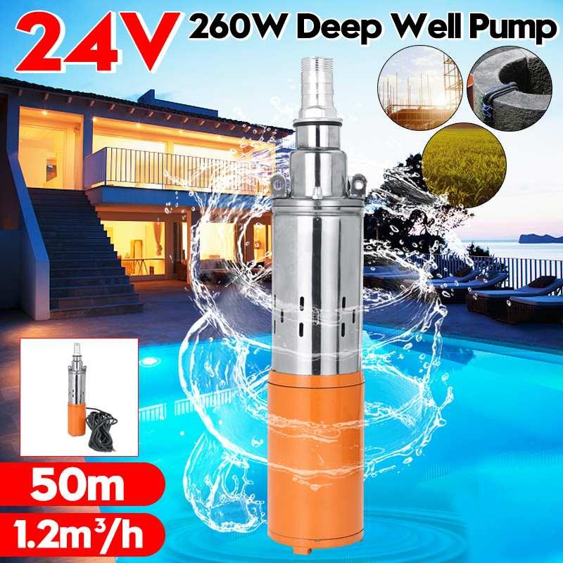 Max Lift 50m Solar Water Pump 24V 260W 1200L/h Deep Well Pump DC Screw Submersible Pump Irrigation Garden Home Agricultural