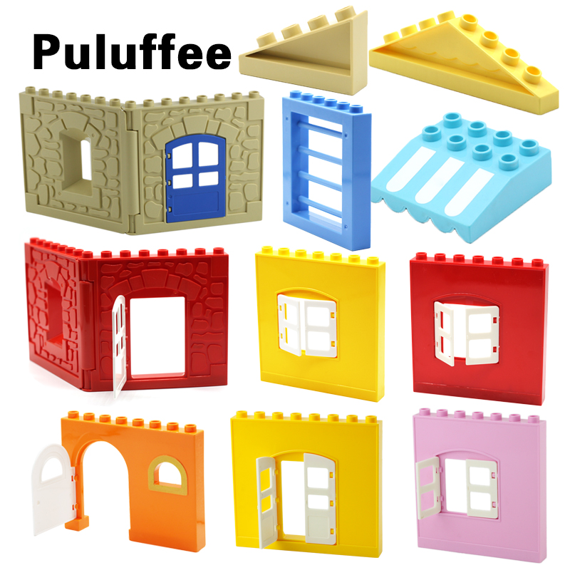 Big Particles Building Blocks Roof Wall Door Window Accessory House Set Assemble Bricks Compatible With Duplo Baby DIY Toys gift цена 2017
