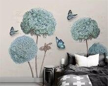 beibehang Custom wallpaper European 3D hydrangea butterfly 3d background living room bedroom TV wall murals