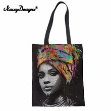 Noisydesigns Art Afro Lady Girls Prints Canvas Reusable Shopping Bag Women Foldable Grocery Storage Bags Large Casual Totes