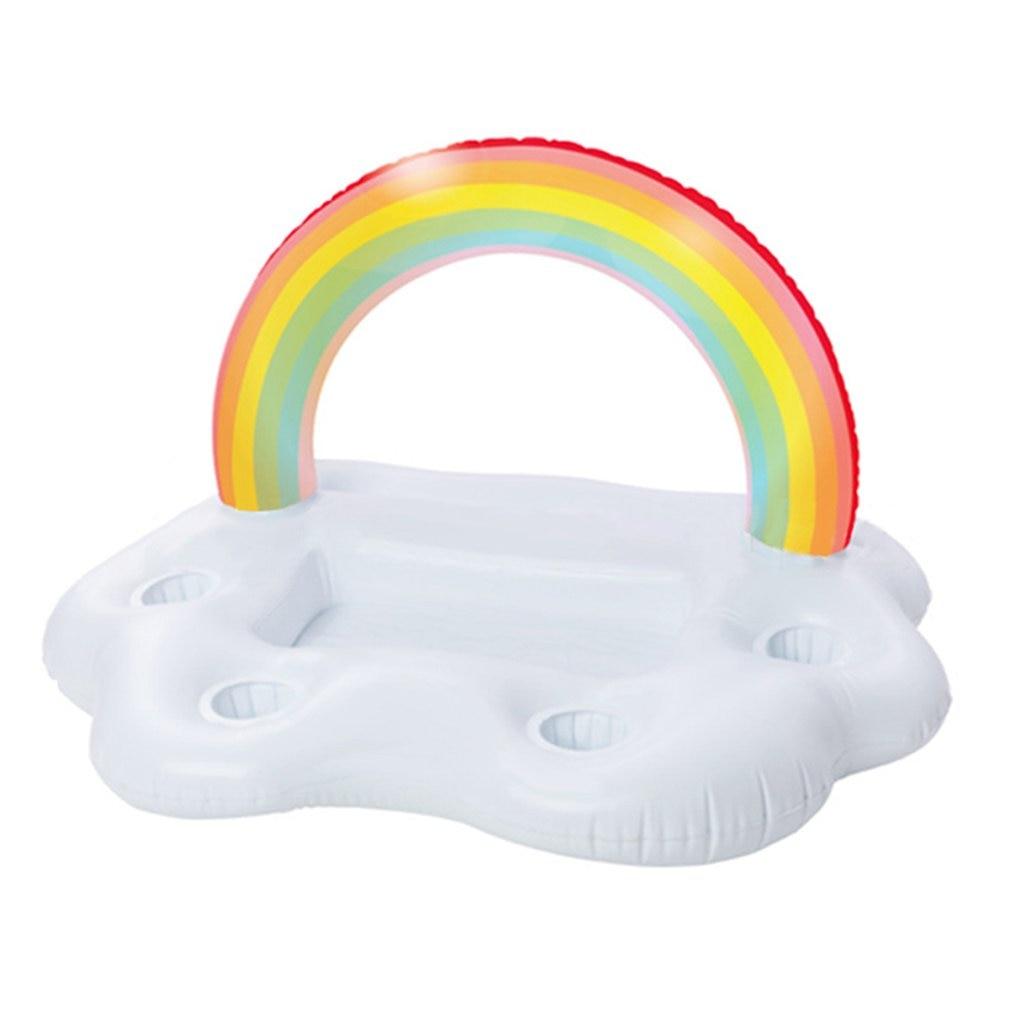 Été fête seau arc-en-ciel nuage support de verre gonflable piscine flotteur bière boisson refroidisseur Table Bar plateau plage natation anneau piscine jouets
