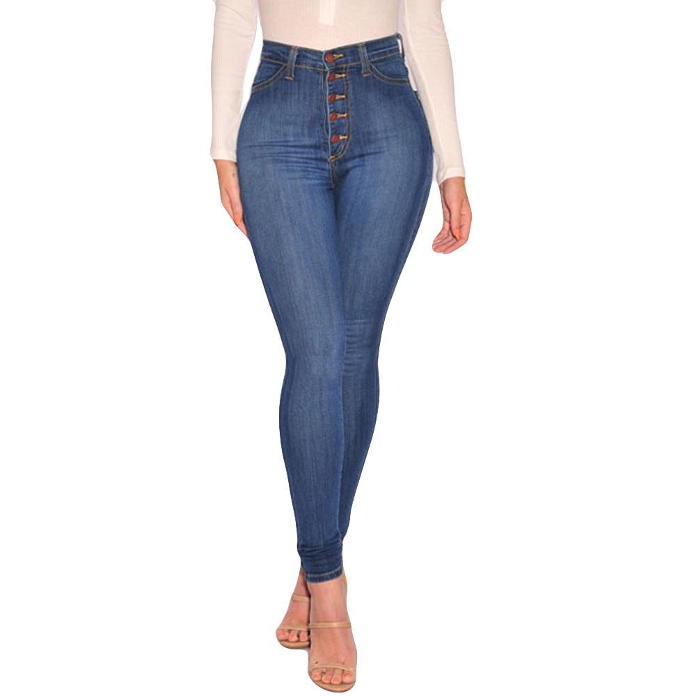 Women High Waisted Skinny Denim Jeans Ladies Spring Autumn Stretch Slim Pants Calf Length Jeans calca jeans feminina Plus Size 2