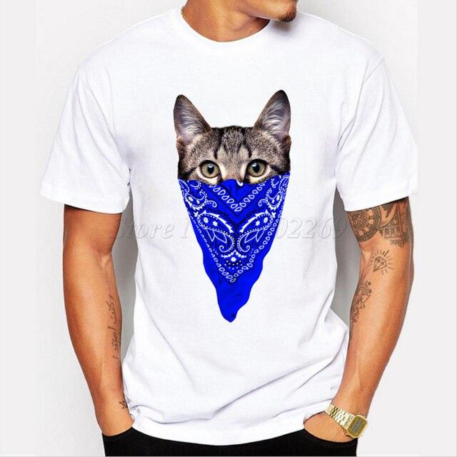 2018新しい到着3dギャング猫デザインメンズカスタムtシャツかわいい動物プリント男性カジュアルトップス人気男の子面白いティー