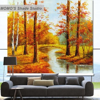 MOMO Golden Window Curtains Roller Shades Blinds Thermal Insulated Blackout Fabric Custom Size, Alice 36