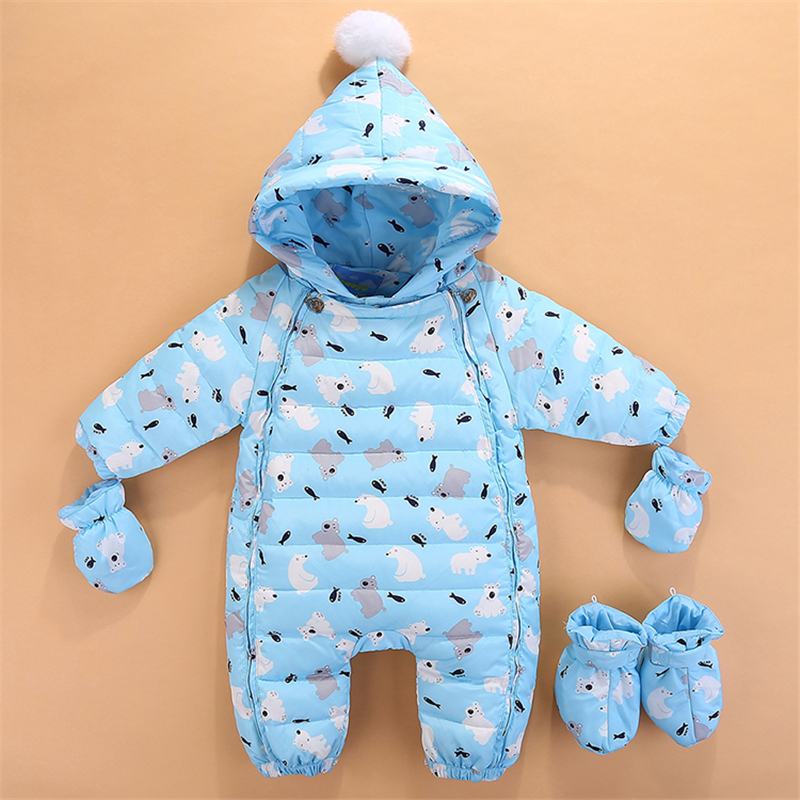 BibiCola winter baby girls boys jumpsuit winter warm down newborn rompers cotton hooded outerwear infant girls rompers overalls kids winter overalls for girls 2017 newborn clothes infant cartoon baby boys hooded rompers thicken warm cotton baby snow suits page 2