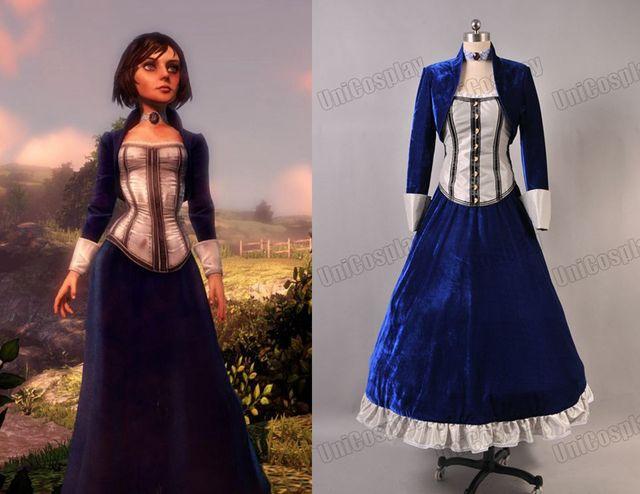 4edbd265b8 Bioshock Cosplay Infinite Elizabeth Costume Velvet Dark Blue Dress  Halloween Party Movie Dress Christmas Costumes
