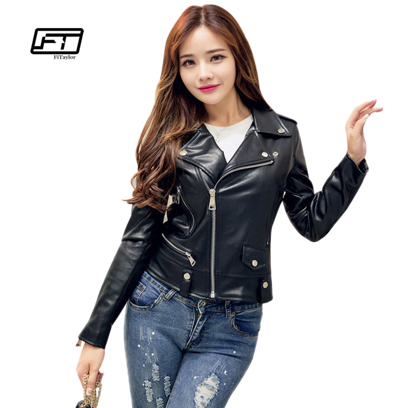 Fitaylor New 2019 vårhöstkvinnor Faux Leather Jacket Mjukt PU Moto Biker Coat Slim Kort Design Skinnjackor Rock Coats