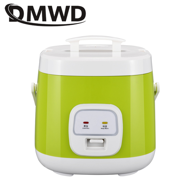 DMWD 2L Mini Electric Rice cooker portable lunch box with non-stick liner multifunction Insulation cooking steamer 1-3 people