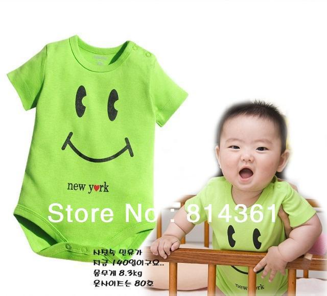 Best Selling!!Girls boys children cute smiling face rompers bodysuits One-Piece jumpsuit 2pcs/lot Free Shipping