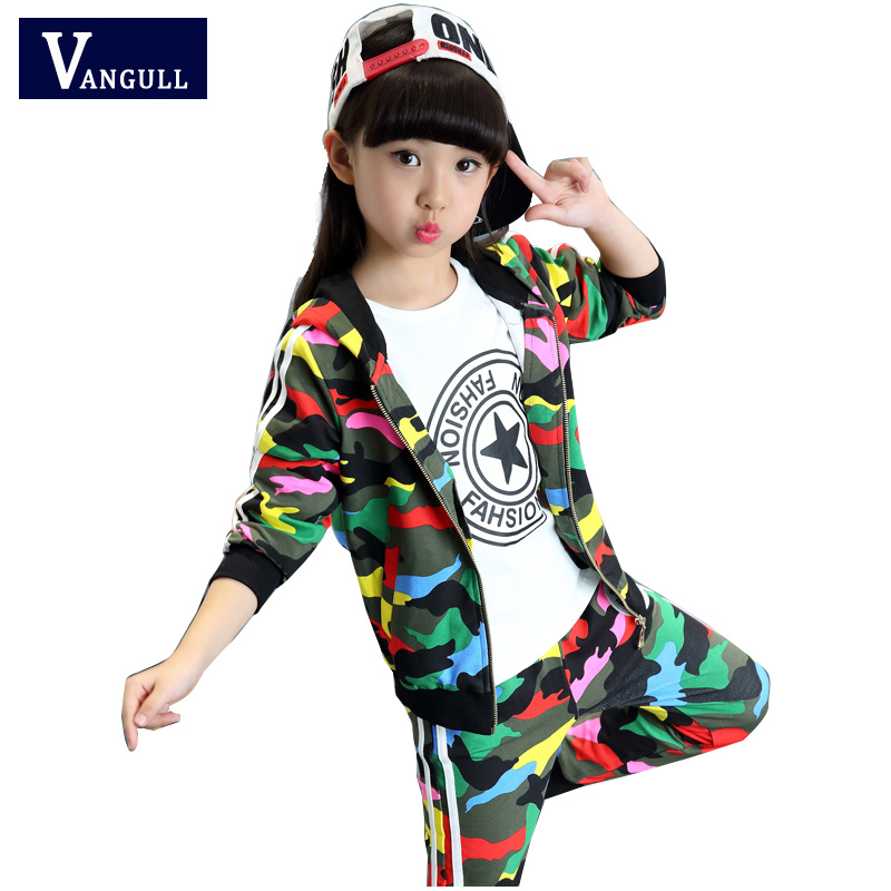 vangull children's clothing girl set camouflage sports suit