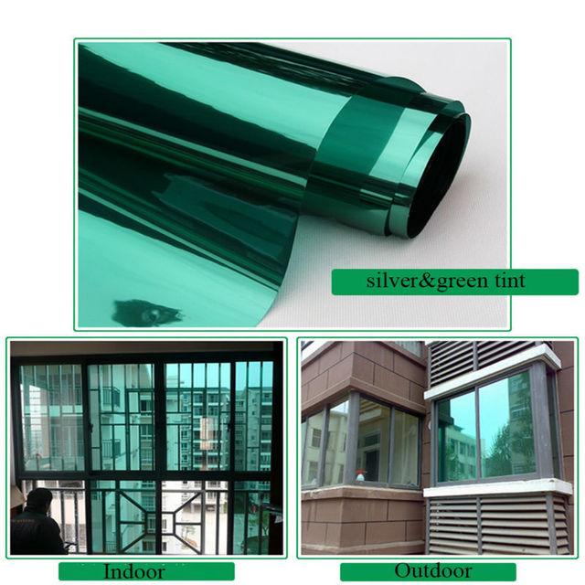 le film pour fen tre d 39 une fa on miroir vert couleur autocollants d 39 isolation solaire. Black Bedroom Furniture Sets. Home Design Ideas
