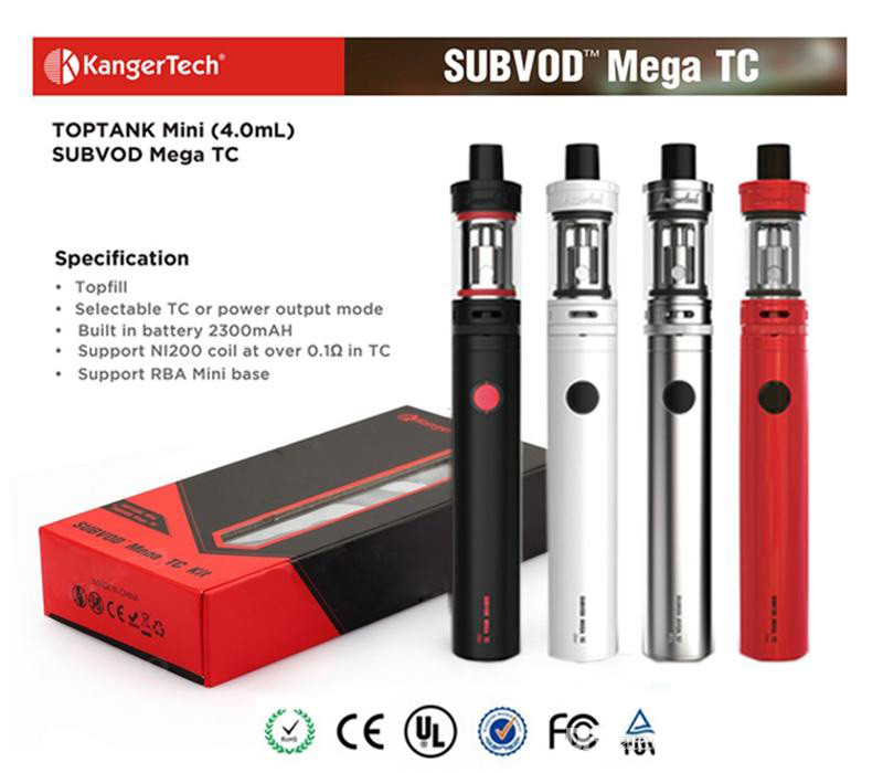 100 Original Kanger SUBVOD Mega TC starter Kit 2300mAh Battery 4 0ml Kanger TOPTANK Mini Topfill