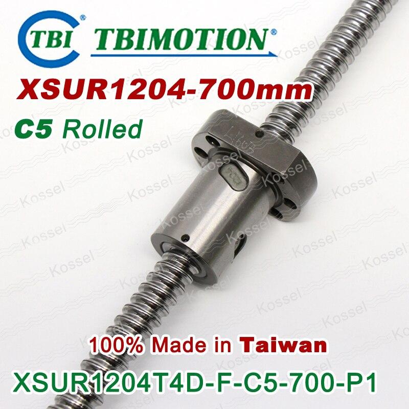 TBI 1204 kugelgewindetriebe 700mm Rolled C5 mit XSU ballnut XSU1204 SFU1204 + ende bearbeitet von hohe stabilität CNC teile rm1204 set