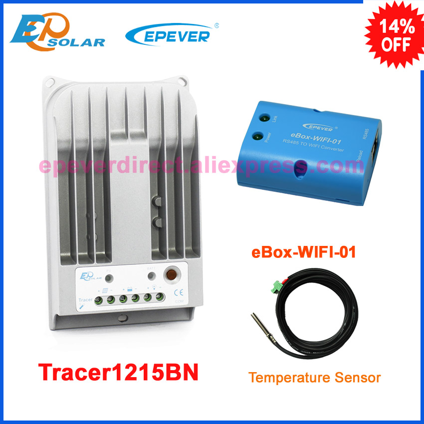Tracer1215BN 10A 10amp solar mppt controller Max PV input150v EPSolar with eBOX-WIFI-01 connect APP function and sensor epsolar mppt tracer1210a 10a 10amp solar controller with usb and sensor