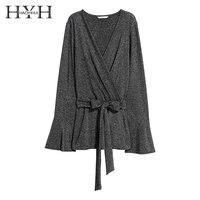HYH HAOYIHUI 2018 Dark Grey Shirts Women Belt Waist Deep V Neck Long Sleeve Flare Sleeve