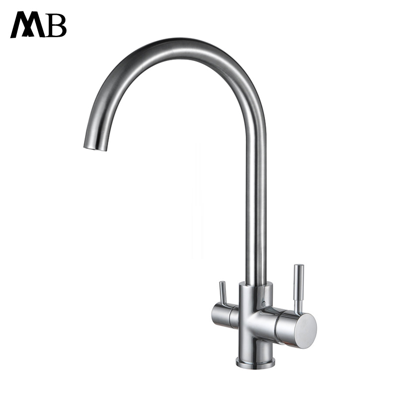 Drinking Water Faucet 3 Way Water Filter Purifier Kitchen Faucets For Sinks Taps 304 Stainless Steel Faucet Brushed Water Tap kitchen faucet stainless steel plating water filter tap water purifier drinking water 1 4 inch water treatment parts household