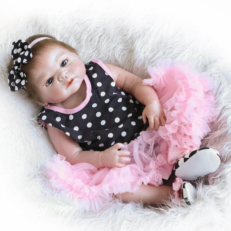 New Full Body Silicone Reborn Baby Dolls Girl Body Brown Hair With Skirt Baby 22 Reborn Silicone Doll 55 CM Bonecas Kids Gift new arrival 23 full body silicone reborn baby boy dolls magnetic mouth fashion dolls for kids gift baby alive bonecas reborn