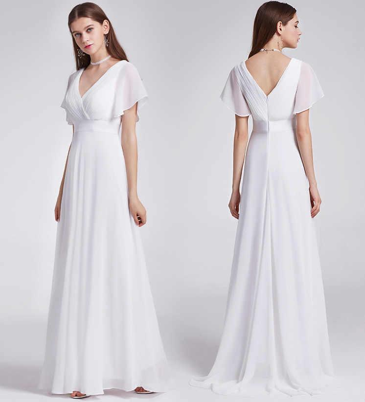 2019 белые шифоновые Для женщин летнее платье Элегантное сексуальное v-образный вырез, платье подружки невесты, Длинные вечерние платья Повседневное плюс Размеры бальное платье Макси платья