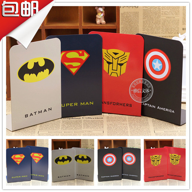 Shipping Super Hero Metal Bookends Bookshelf Stainless Steel Vacuum Suction Cup Magazine Ipad Holder For