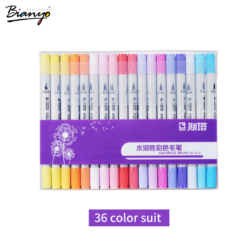 Bianyo Aquarelle Brush Art Markers Painting Drawing Artist Supplies Students Brush Markers Set 12/24/36/48/80 Colors Marker Pen bianyo 20 colors artist sketch marker pen set for school student drawing painting brush pen watercolor manga marker art supplies