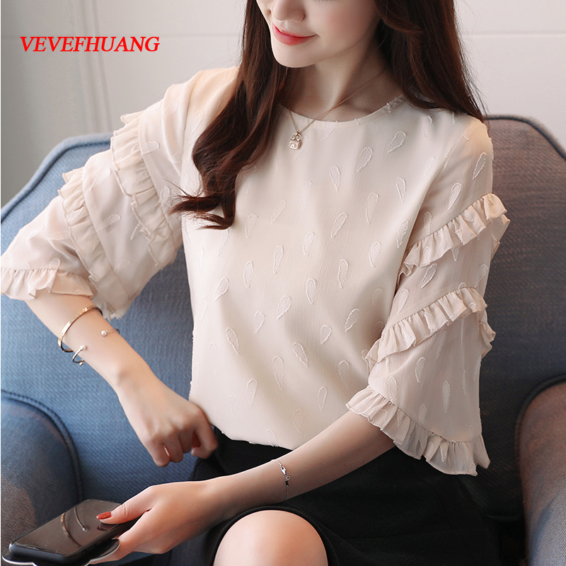 New Korean Fashion Female Flare Sleeve Chiffon Blouse Sweet Summer Top New Women Short-Sleeved Chiffon Blouses Shirts S-XXL