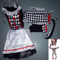 Harlequin Jester Ladies Fancy Dress Halloween Clown Horror Womens Costume Set Jumpsuits