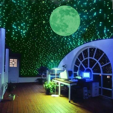 100 Pc/pack Night Luminous Stars Fluorescent 3D Wall Stickers Children's  Bedroom Stickers Glow In The Dark Stars