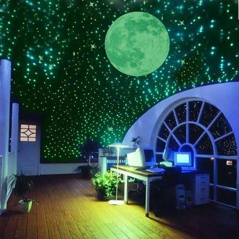 100 Флуоресцентные 3D наклейки на стену Светящиеся в темноте звезды для детской спальни