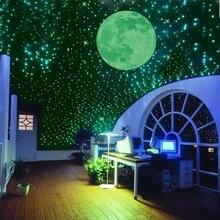 Adesivos com estrelas luminosas para quarto das crianças, 100, luminosas, fluorescente, 3d, adesivos para quarto das crianças, brilha no escuro, estrelas