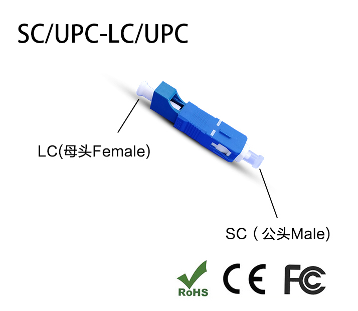 SC Male To LC Female Fiber Optic Adapter SC-LC Hybrid Optical Adaptor