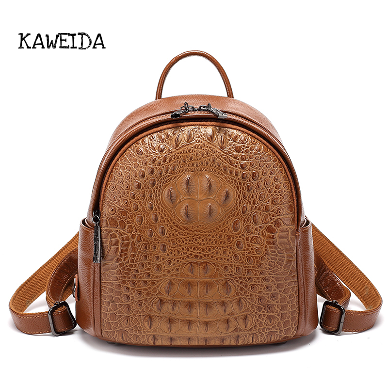 Classic Brown Alligator Genuine Leather Backpack women Vintage travel Rucksack Small Casual shoulder Daypack bag for Girls Black stage controlling software sunlite suite2 fc dmx usd controller dmx good for dj ktv party led lights shehds stage lighting