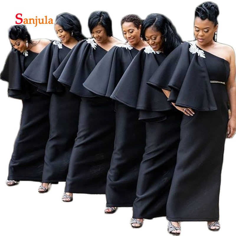 Black Jersey Sheath   Bridesmaid     Dresses   One Shoulder Ruffles Sleeve African Maid of Honor   Dresses   Back Slit Party   Dresses   D264