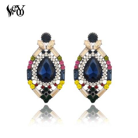 Купить женские серьги гвоздики veyo разноцветные этнические с кристаллами