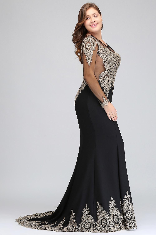 Élégante sirène verte grande taille longues robes de bal 2019 dentelle Applique perlée robe de bal robe de gala - 3