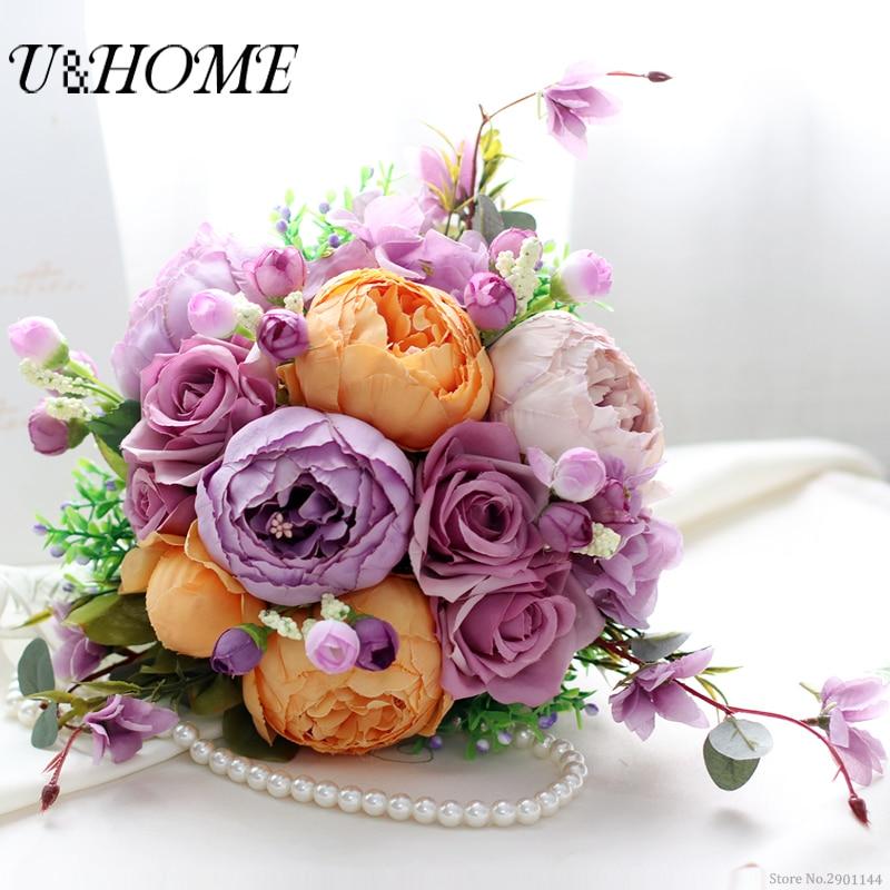 Artificial bride DIY <font><b>flowers</b></font> hand bouquet silk orange peony purple rose high quality for home marriage wedding decoration bulk