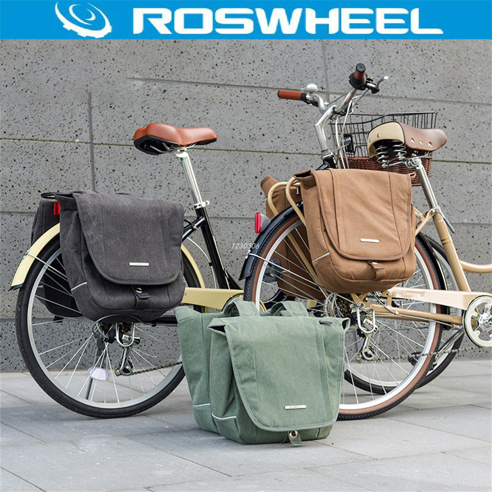 ROSWHEEL Bicycle Bag MTB Road Rear Rack Bike 20L Canvas Cycling Bag Seat Saddle Bag Double Side Tail Seat Trunk Bag Pannier roswheel 20l multifunctional waterproof bicycle bag black pvc cycling trunk rear tail pack bag riding bike bicycle storage bag