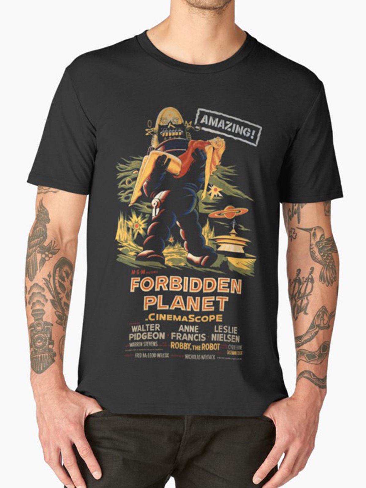 FORBIDDEN PLANET T SHIRT MOVIE FILM VINTAGE RETRO CULT HORROR New T Shirts Funny Tops Tee New Unisex Funny Tops free shipping
