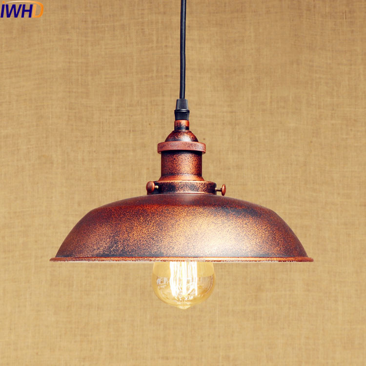 IWHD Rust Retro Vintage Pendant Lights LED Edison Style Loft Industrial Lamp Metal Iron Rustic Hanging Light Lampara Colgante