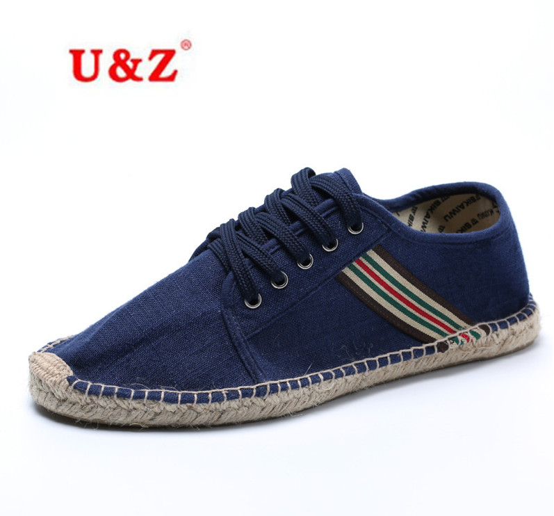 ФОТО Plus large size Unisex canvas Espadrilles casual shoes for Lovers US11,Man breathable striped patchwork loafers shoes Eu44