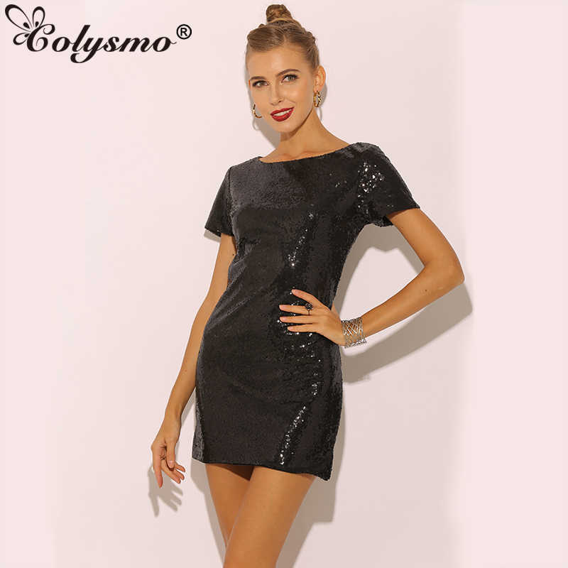 9c8b3928fe Colysmo Formal Sequin Dress Women Autumn Dress Party Woman Sexy Night Club  Dresses Short Sleeve Mini
