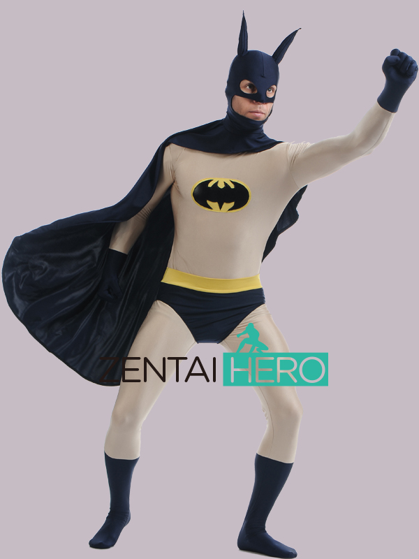 Free Shipping DHL Wholesale Lycra Spandex Cool Batman Cosplay Zentai Super Hero Costume For Halloween Lycra Events Costume