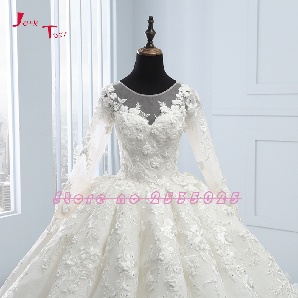 2020 New Arrival Bruidsjurken Long Sleeve Ball Gown Wedding Dresses Robe de Mariee Princesse de Luxe 3D Flowers Hochzeit