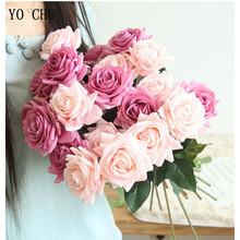 YO CHO sztuczne kwiaty róże jedwabne sztuczne piwonie prawdziwy dotyk sztuczne róże różowy bukiet ślubny dekoracje domowe na przyjęcie sztuczny kwiat tanie tanio Ślub Artificial Roses Real Touch Jedwabiu Bukiet kwiatów Wedding Flower Bridal Bouquet Pokaż kwiat Fake Roses Silk Flower