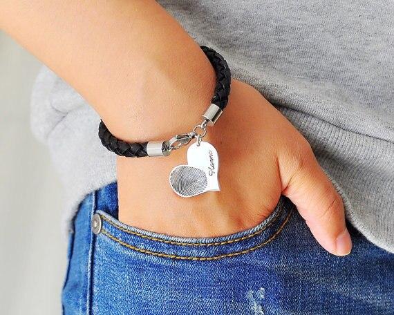 Argent couleur Signature graver Bracelet personnalisé empreinte digitale cuir Bracelet coeur charme noël mémoire cadeau