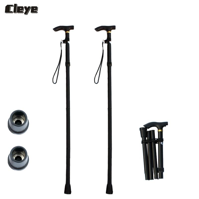 JoShock CLEYE 2pcs/lot Aluminium Alloy Four-Section Walking Hiking Stick Adjustable Folding Collapsible Trekking Poles
