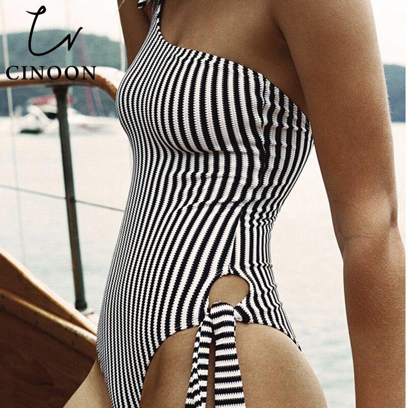 CINOON 2018 Neue Hohe Qualität Einteiliges Badeanzug Badeanzug Bademode Bademode Stripped Bandage Bowknot Badeanzug