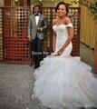 Sirena del cordón del vestido de boda con mangas 2016 lentejuelas apliques cariño volante de tul de novia vestido de novia